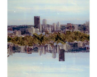 symmetry skyline: pittsburgh art pittsburgh skyline surreal photography fine art photography urban wall art print multiple exposure photo