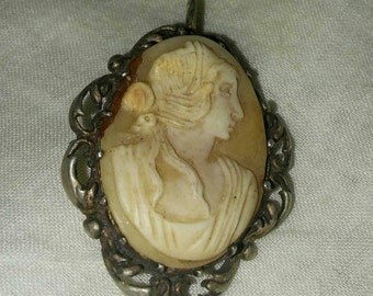 Antique Edwardian sterling shell cameo caged pendant. Edwardian Antique. Silver