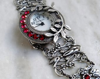 Red floral watch unique women watches for Victorian wrist watch Silver Filigree Floral Bracelet Vintage watch silver jewelry