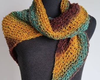Turquoise Green Mustard Brown Cowl Kerchief Mini Shawl Collar Dickey Scarf with Crocheted Rings