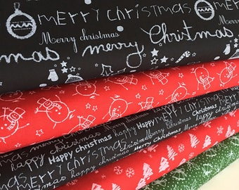 Christmas Blackboard Fabric, Gift for Teacher, Christmas Fabric, Christmas Decor, Holiday Craft, Bundle of 5, Choose your cut