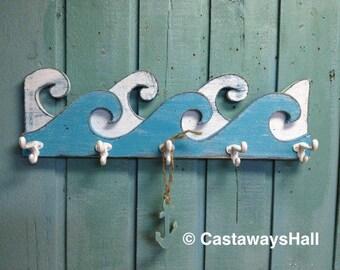 Waves Coat Rack Hook Rack Sign Wall Beach House Nautical Decor by CastawaysHall - 25 Inches