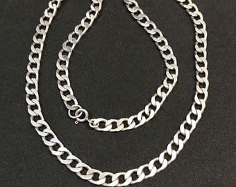 "21"" 8mm, vintage Sterling silver handmade necklace, fabulous 925 silver curb link chain, stamped 925"