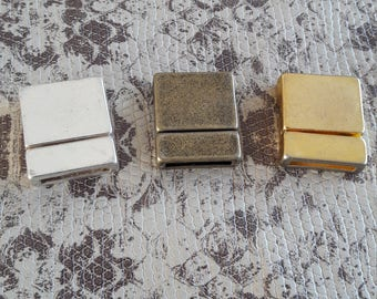 Silver, bronze or gold magnetic clasp for bracelet 13mm