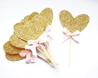 Heart Cupcake Toppers 12CT, gold birthday party decorations, birthday cupcake toppers , first birthday decor, Valentines Day