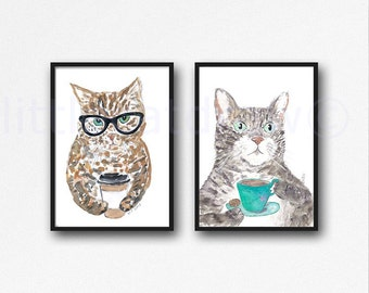 Cat Print Set Of 2 Tea and Coffee Cat Art Prints Wall Art Cat Watercolor Painting Print Cat Print Set Cat Lover Gift Wall Decor Unframed