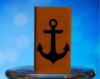 Anchor Rubber Stamp Mounted Wood Block Art Stamp