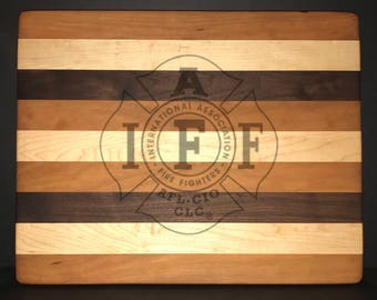 14 X 18 X 1 inch International Association of Firefighters Bread/Cheese Board