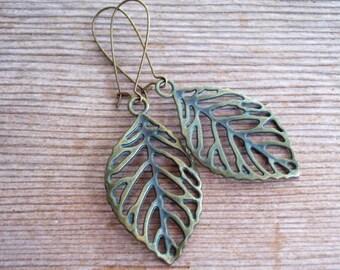Verdigris Leaf Earrings, Antiqued Brass Filigree Leaf Earrings, Brass Leaf Earrings, Boho Earrings, Choice of Style, Verdigris Earrings