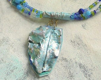 Pacific blue upcycled artist palette necklace in Spring colors