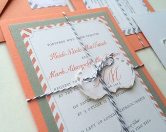 Coral Gray Chevron Salmon Blush Simple Calligraphy Rustic Baker's Twine Elegant Wedding Invitation Country Chic Vintage Contemporary