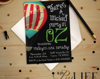 Wicked Wizard of Oz the Great and Powerful V.2 Birthday Invitation Printable DIY No. I80