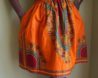 Esty Ankara African midi Skirt  with two Pocket and a belt