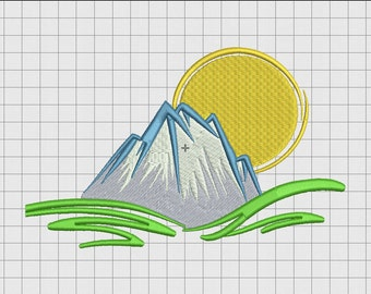 Mountain Sun Embroidery Design in 3x3 4x4 and 5x7 Sizes