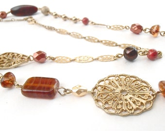 Vintage Gold Tone Bronze Bead Filigree Chain Link Necklace Avon Faux Amber Sienna Acrylic Faceted Boho Single Strand 39 Inches Tawny Copper