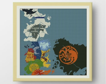 BOGO FREE! Map of Westeros cross stitch pattern, Game of Thrones Cross stitch pattern,counted cross stitch ,PDF Instant Download,S035