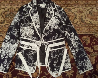 Floral Black and White Cherry Blossom Jacket