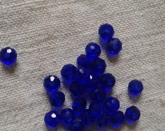 set of 20 dark blue faceted 6 mm glass beads