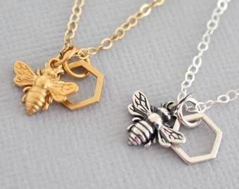 Honeybee Necklace, Sterling Silver Honeybee Necklace, Gold Honeybee and Honeycomb Necklace, Honeycomb, Honeybee Jewelry, Honeybee Lover