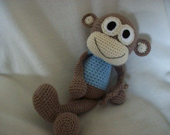 Monkey Hand Crochet,with Blue shirt,ages 3& up