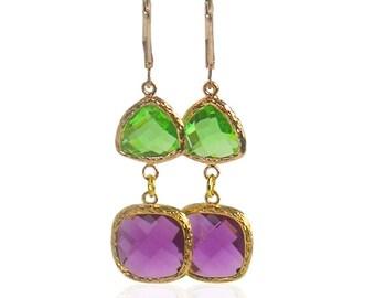 Peridot amethyst earrings, Rose gold earrings, Peridot gold Jewelry, Green purple long earrings, February August Birthstone, Gold jewellery