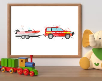 Firetruck watercolour print, fire rescue printable, fire truck wall art, rescue truck print, rescue vehicle print, boy bedroom wall art