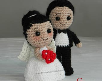 Bride and groom amigurumi crochet doll pdf pattern the perfect wedding gift , couples marriage gift , just married crochet gift, stand alone