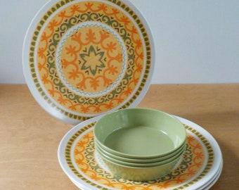 Vintage Melmac Dinnerware • 8 Piece Genuine Melamine Melmac • Avocado Green and Orange