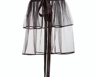 Organza surjupe - noir, double couche (toutes tailles), stylisme accessoire