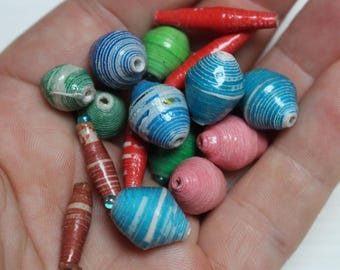 Vintage rolled paper beads