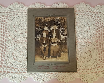 Black and White Photograph Siblings Brother and Sister Picture Antique Photo B&W Men and Women FS