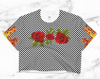Femme Thrasher Crop Top // Fire // Flames // Roses // Clothes with Checkers // Checkered // Mad Hatter // Black Checkers // Trending Pattern