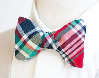 Bow Ties, Bow Tie, Bowties, Mens Bow Ties, Freestyle Bow Ties, Self-Tie Bow Ties, Groomsmen Bow Ties - Red, Navy, Green Organic Madras Plaid