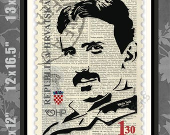 Nikola Tesla STAMP, Nikola Tesla Print, Nikola Tesla Art, Nikola Tesla Poster, Tesla Print, Scientist, Inventor, Croatian Stamp, Croatia