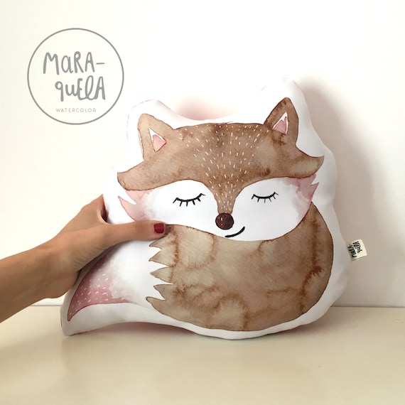 Cojín ZORRO marrón y rosa / Pink and Brown FOX Throw Pillow