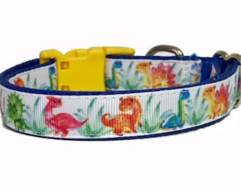 "Dinosaur - 3/4 "" Dog Collar - Pet - Gift - Summer - Holiday - Puppy - Handmade -"