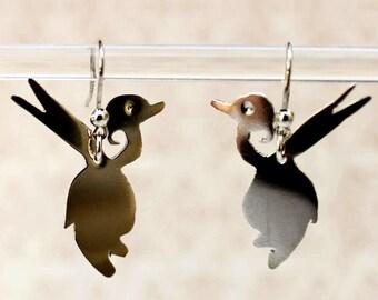 Sterling Silver Duck Earrings - Duck Earrings - Sterling Silver Duck - Animal Earrings - Bird Earrings - Silver Bird Earrings
