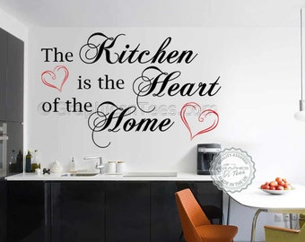 Kitchen Wall Sticker Quote, Kitchen is Heart of Home, Family Wall Sticker