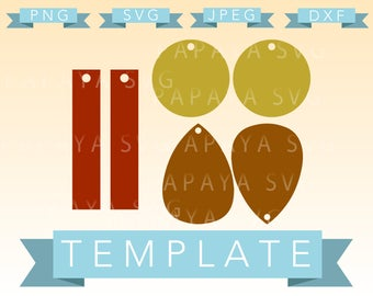 Earring Template Set Cut File - SVG, PNG, JPEG - Cricut, Sihouette Cameo, craft, summer, earrings, faux leather, glitter fabric, tear drop