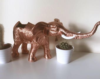 Elephant succulent planter elephant planter african safari planter animal planter metallic rose gold copper colour white tusks succulent pla