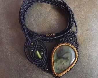 Macrame Necklace, Macrame Pendant, Labradorite Pendant, Boho Necklace, Navy Blue, Green, Tan