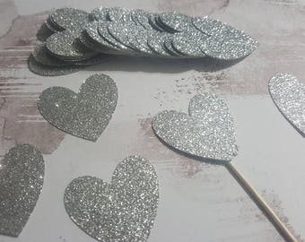 Glitter Silver Hearts Cupcake Toppers              Wedding, Bridal Shower, Engagement, First Birthday, Valentines Day