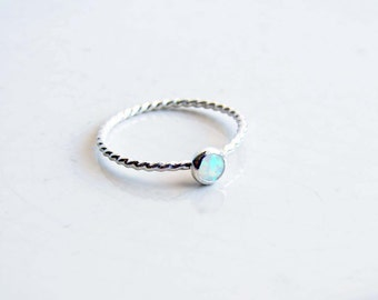 October Birthday Opal Ring. Lab Created Opal Stone with Twisted Sterling Silver Ring. Made to Order. Stacking Ring
