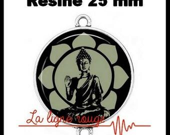 Connector silver 25 mm cabochon dome resin - Buddha (1290) - zen, lotus