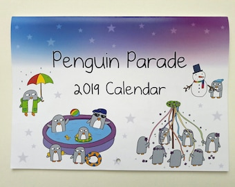 Penguin Wall Calendar 2019 - Funny Penguin Gift - Cute - Quirky - A4 flips open to A3  - Note pages included