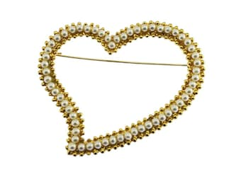 Vintage Heart Brooch, Gold Heart Brooch, Gold and Pearl Brooch, Gold Heart Pin