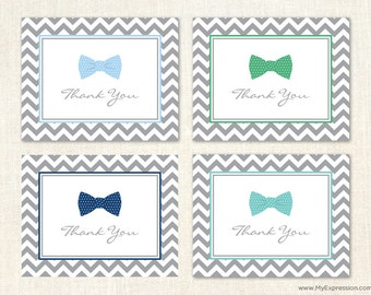 Bow Tie Thank You Cards - Boy Baby Shower Shower Thank You Cards - Set of 24 with envelopes