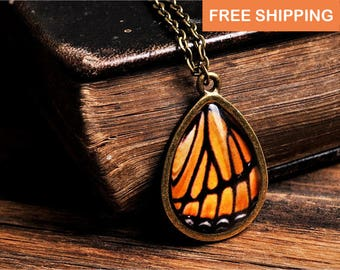 Monarch butterfly wing necklace, orange necklace, tear drop necklace, antique brass necklace, glass necklace, monarch butterfly necklace