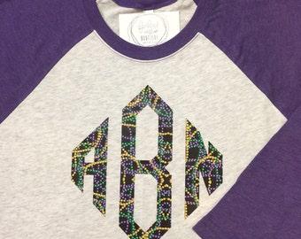 Mardi Gras Monogram Raglan Shirt - Holiday Pattern Monogrammed Raglan Tee - Print Monogram Baseball Tshirt - Monogram Raglan Shirt
