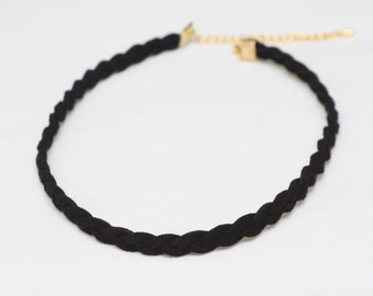 Black Twisted Cord Choker Necklace, Chokers for womens, Simpe Choker, Thin Choker, Comfortable Necklace, Adjutable Choker, Trendy Necklace